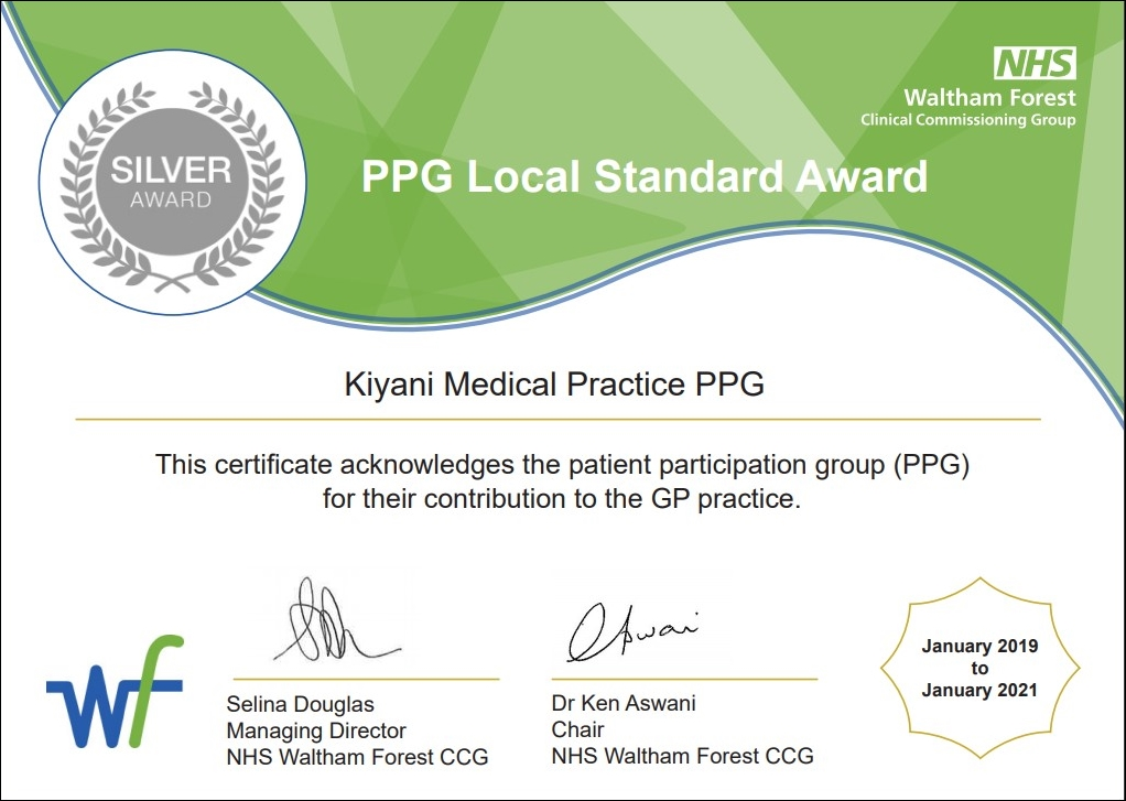 Silver PPG Local Standard Award - This certificate acknowledges the patient participation group (PPG) for their contribution to the GP Practice.
